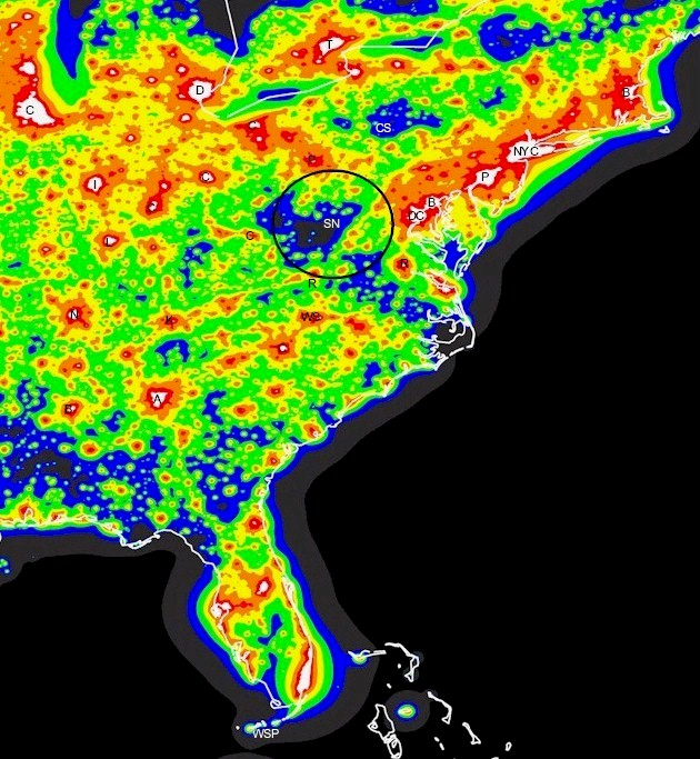 Light Pollution Map of the eastern US